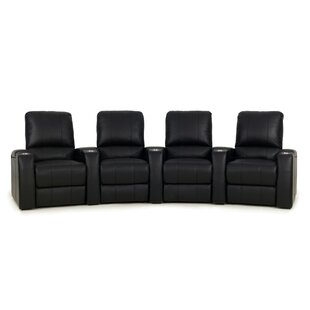 Curved Leather Home Theater Row Seating Row of 4  by Red Barrel Studio