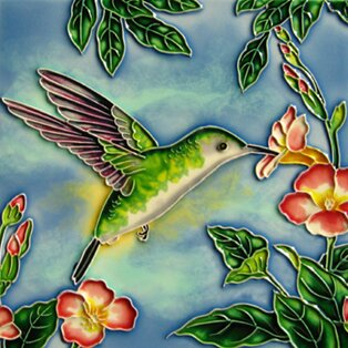Hummingbird with Green and Orange Flowers Tile Wall Decor by Continental Art Center