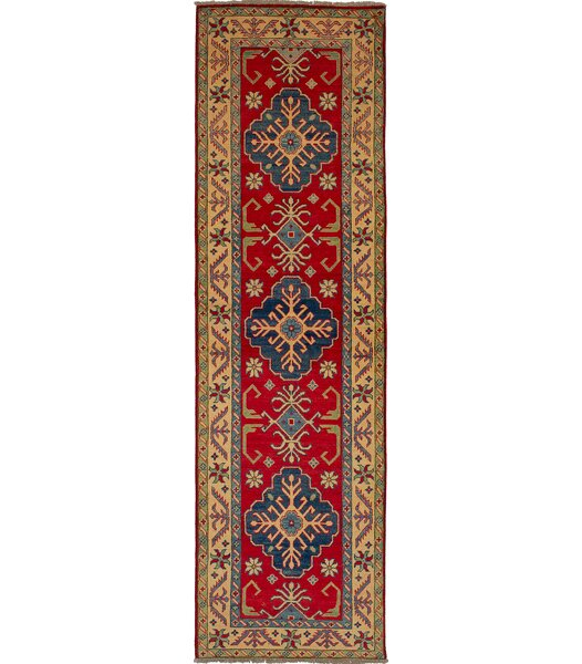 One-of-a-Kind Aidan Hand-Knotted Wool Red/Blue Area Rug by Isabelline