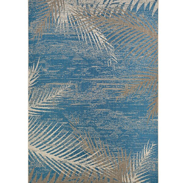 Odilia Tropical Palms Blue/Gray/Beige Indoor/Outdoor Area Rug by Beachcrest Home