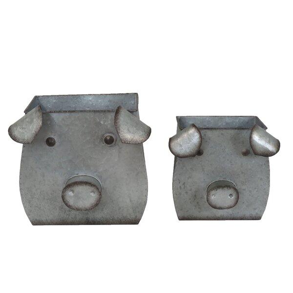 Ellard Decorative Tin Pig 2 Piece Iron Pot Planter Set by August Grove