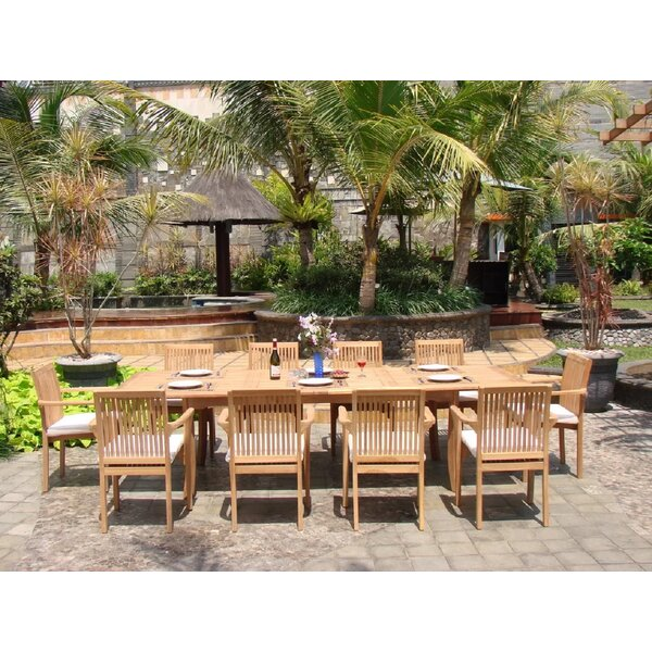 Harlem Luxurious 11 Piece Teak Dining Set by Rosecliff Heights