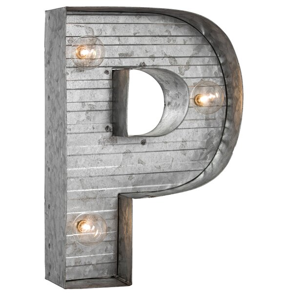 Letter P Metal LED Marquee Sign by Williston Forge