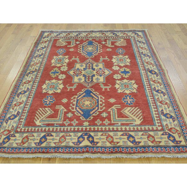 One-of-a-Kind Bechtold Tribal Design Hand-Knotted Red Wool Area Rug by Isabelline