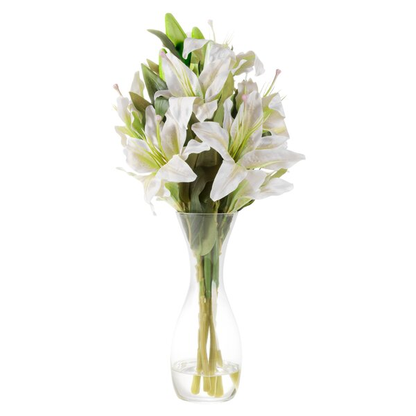 Tall Lily Floral Arrangement in Glass Vase by House of Hampton