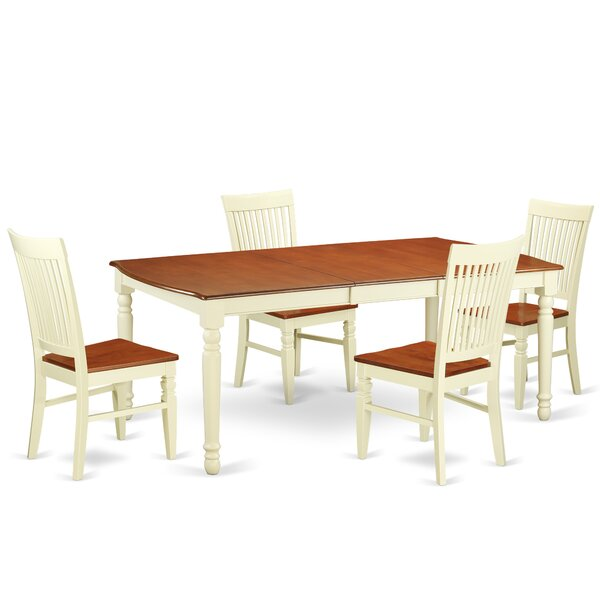 Pimentel 5 Piece Extendable Solid Wood Dining Set by August Grove