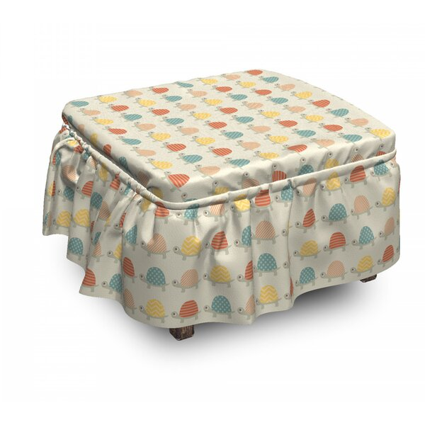 Hand Drawn Happy Turtles Ottoman Slipcover (Set Of 2) By East Urban Home