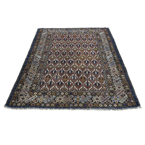 One-of-a-Kind Fraise Caucasian Shirvan Oriental Hand-Knotted Brown Area Rug by World Menagerie