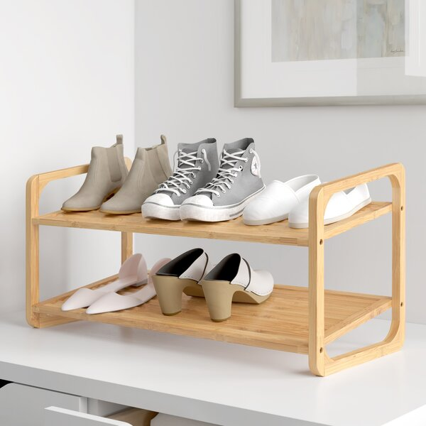 Louvered 2 Tier Bamboo 8 Pair Shoe Rack