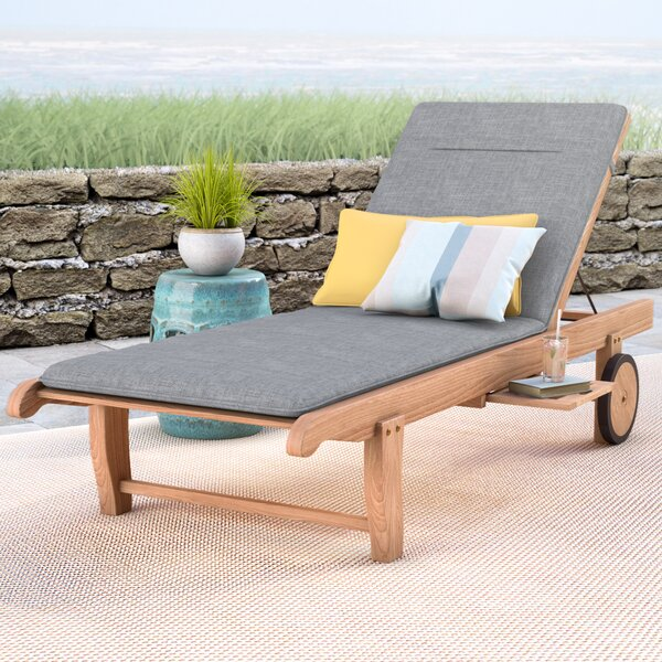 Brighton Reclining Teak Chaise Lounge with Cushion and Table by Sol 72 Outdoor Sol 72 Outdoor