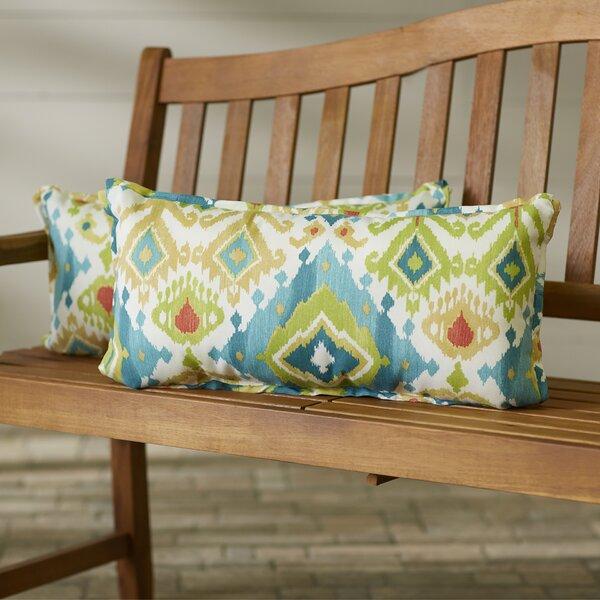 Pineville Flange Seam Indoor/Outdoor Lumbar Pillow (Set of 2) by Bungalow Rose