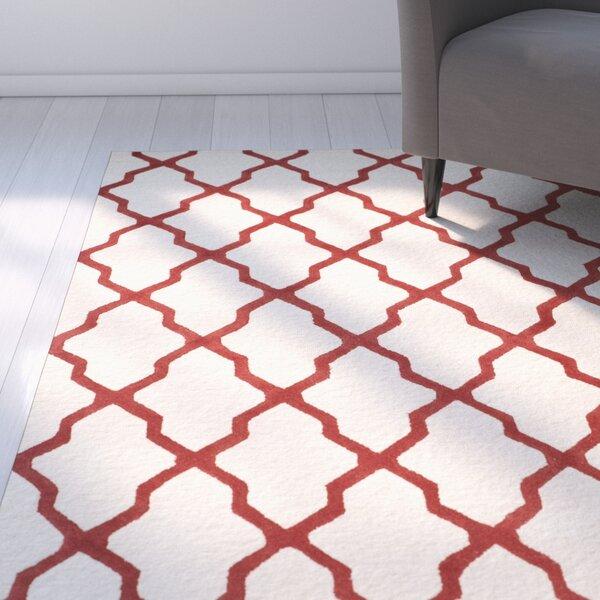 Charlenne Wool Ivory / Rust Area Rug by Zipcode Design