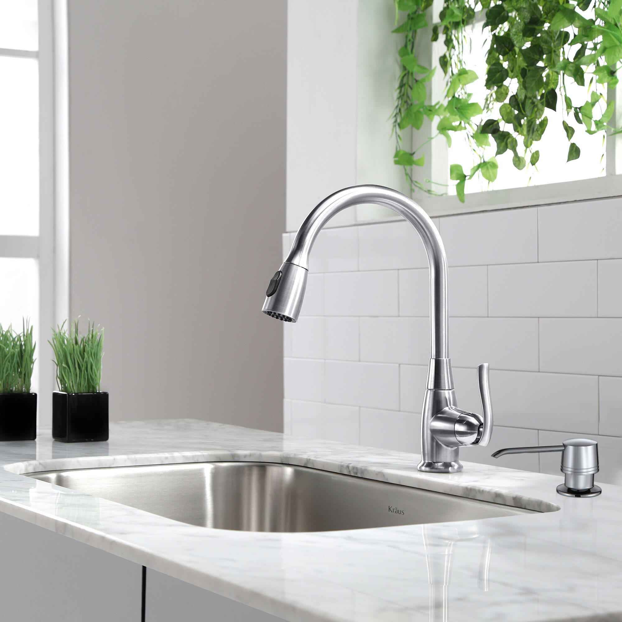 Kraus Premium Faucets Pull Down Single Handle Kitchen Faucet With Optional  Soap Dispenser U0026 Reviews | Wayfair