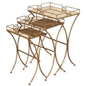 Orchimont Copper Metal And Mirror 3 Piece Nesting Tables