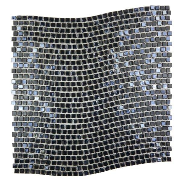 Galaxy Wavy 0.31 x 0.31 Glass Mosaic Tile in Dark Gray by Abolos
