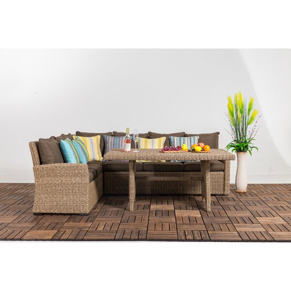 Stone 3 Piece Rattan Sectional Seating Group with Cushion by Bay Isle Home