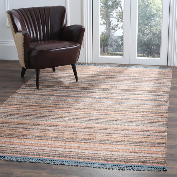Sojourn Hand-Woven Orange/Blue Area Rug by Ivy Bronx
