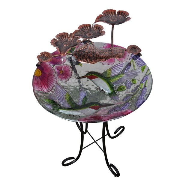 Resin Outdoor/Indoor Hand Painted Hummingbird Glass Fountain by Peaktop