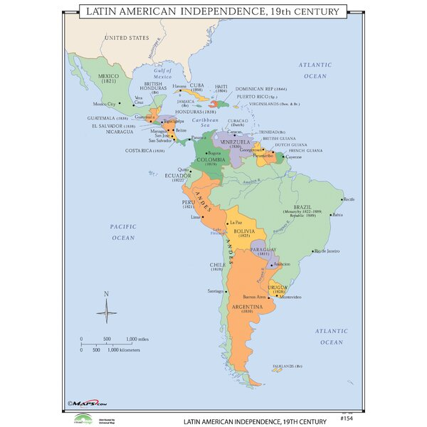 World History Wall Maps - Latin American Independence by Universal Map