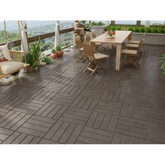 Naturesort Bamboo 12 X12 Composite Interlocking Deck Tile In Dark Wood