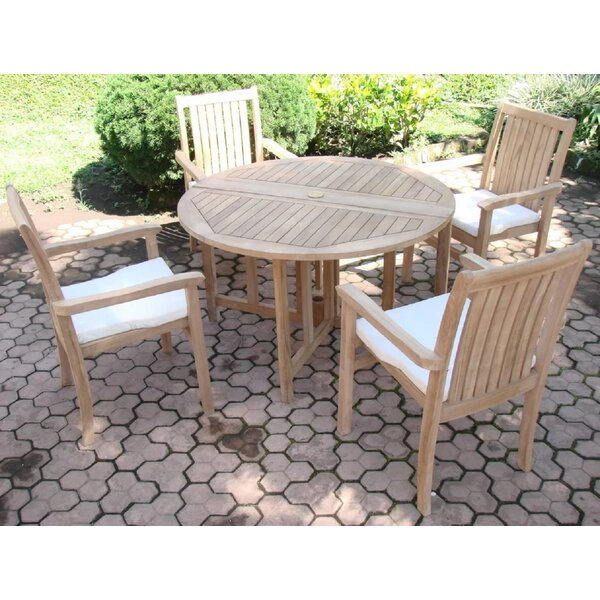 Mercato Luxurious 5 Piece Teak Dining Set by Rosecliff Heights