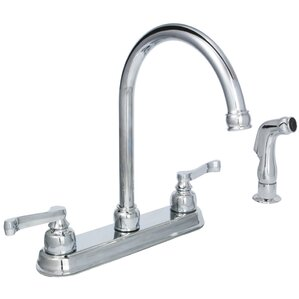 Huntington Brass Sienna Double Handle Standard Kitchen Faucet with Side Spray