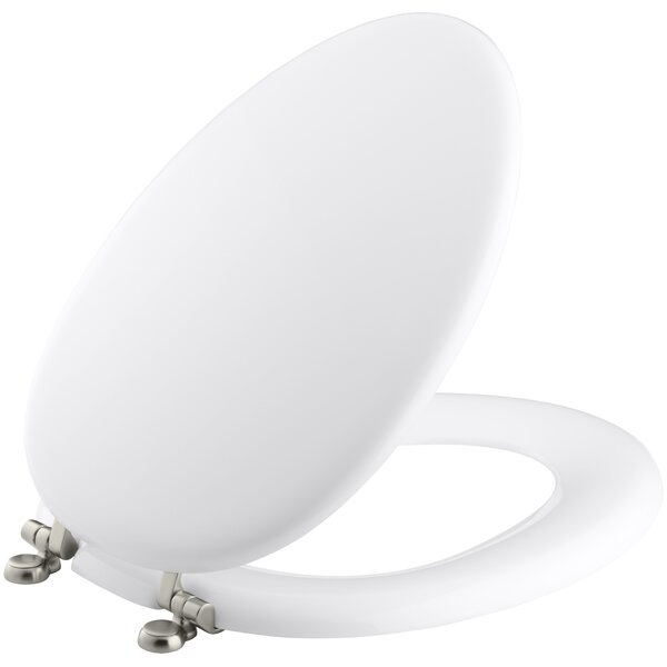 Kathryn Elongated Toilet Seat with Vibrant Brushed Nickel Hinges by Kohler
