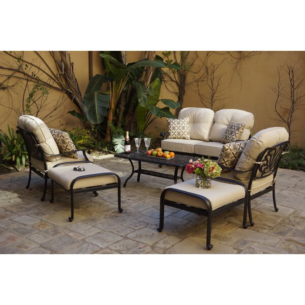 Bulluck 6-Piece Conversation Loveseat Set with Cushions and Pillows by Canora Grey
