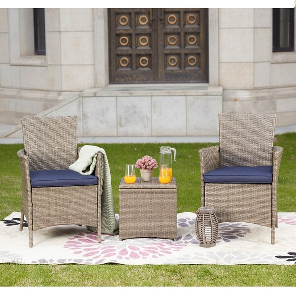 Mike 3 Piece Rattan Seating Group with Cushions by Zipcode Design