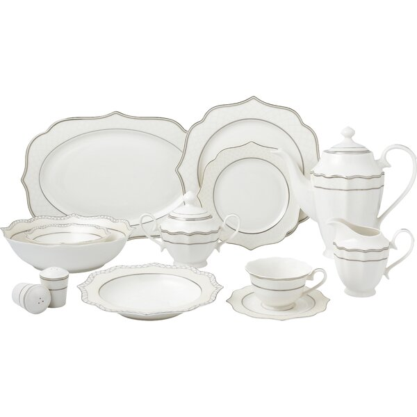 Wavy Silver Mix and Match 57 Piece New Bone China Dinnerware Set, Service for 8