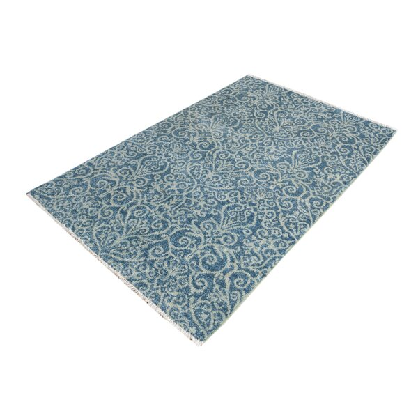 One-of-a-Kind Dorn Hand-Knotted Wool Light Blue Area Rug by Isabelline