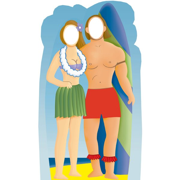 Life-Size Stand-Ins Surfer Couple Holding Surfboard Cardboard Stand-Up by Advanced Graphics