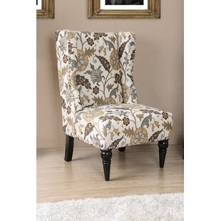 Bassett Floral Patterned Fabric Slipper Chair by Alcott Hill