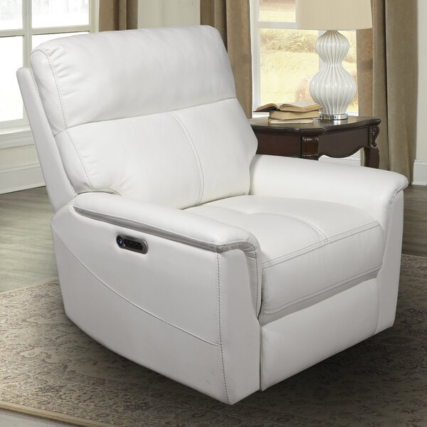 Hanish Leather Power Recliner By Winston Porter