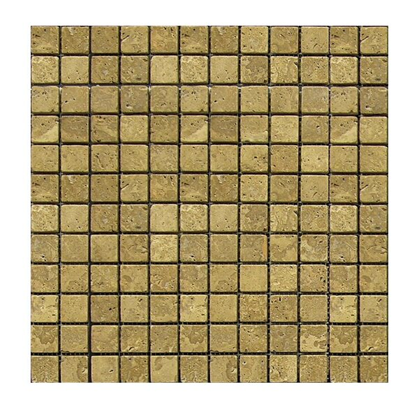Tumbled 1 x 1 Natural Stone Mosaic Tile in Noce by QDI Surfaces