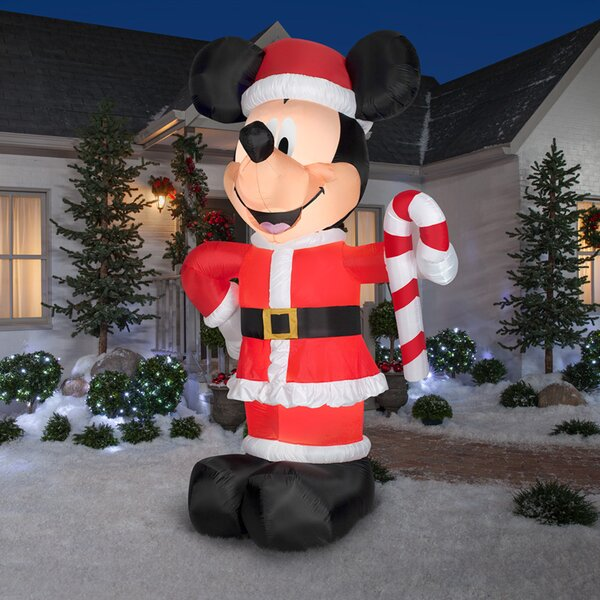 Disney Santa Mickey with Candy Cane Inflatable by The Holiday Aisle