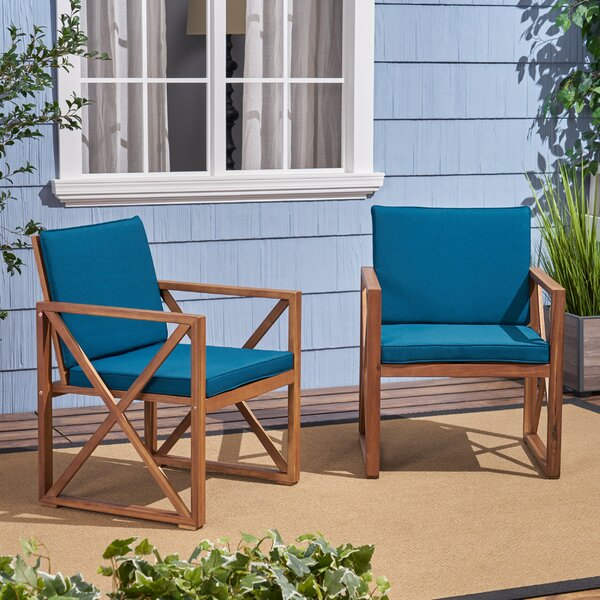 Anneke Patio Chair with Cushions (Set of 2) by Highland Dunes