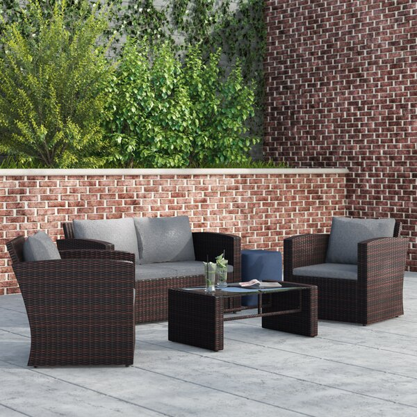 Tondreau 4 Piece Rattan Sofa Seating Group with Cushions by Wrought Studio