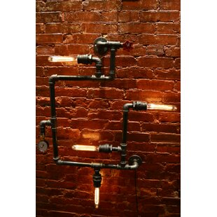 Steampunk 4 Light Industrial Pipe Wall