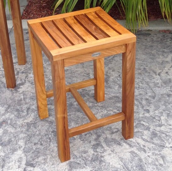 Santa Monica 24 Teak Patio Bar Stool by Chic Teak