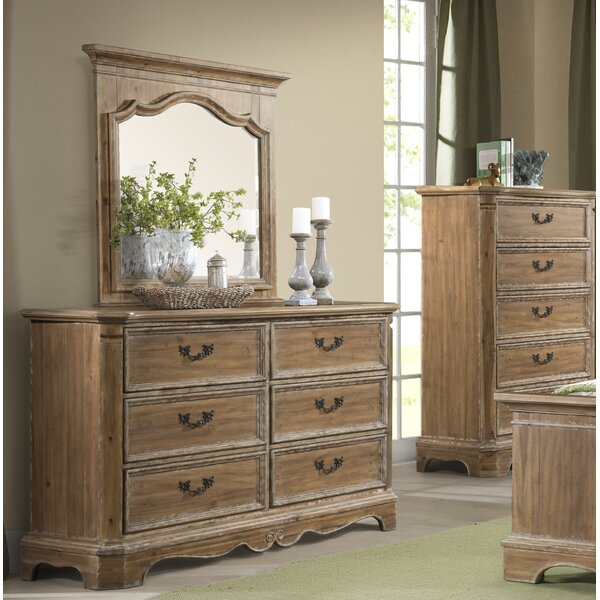 Elena 6 Drawer Double Dresser with Mirror by Ophelia & Co.