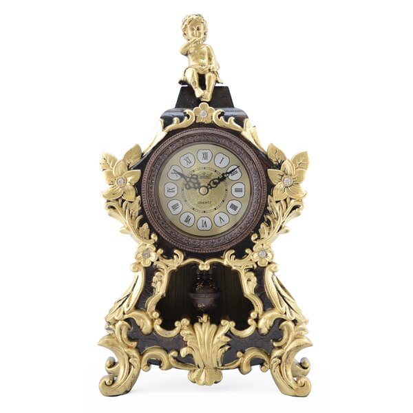 Angel and Pendulum Table Clock by Three Star Im/Ex Inc.