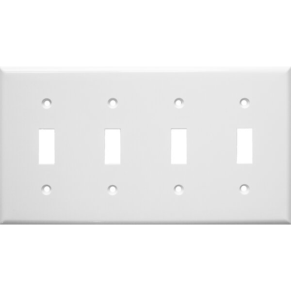 4 Gang Lexan Wall Plates for Toggle Switch in White by Morris Products