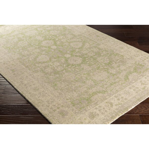 Anselma Hand-Loomed Neutral/Green Area Rug by Bungalow Rose
