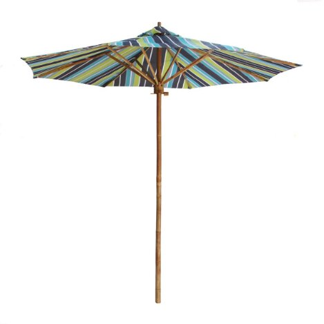 Dorathy 7 Foot Bamboo Umbrella With Pottery Polyester Canvas by Bayou Breeze