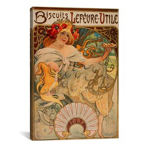 'Biscuits Lefevre Utile' by Alphonse Mucha Vintage Advertisement on Canvas by iCanvas