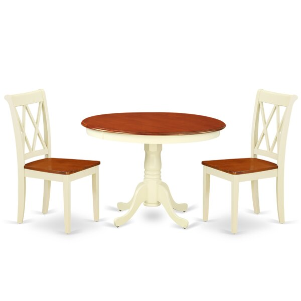 Lamotte 3 Piece Solid Wood Breakfast Nook Dining Set by August Grove