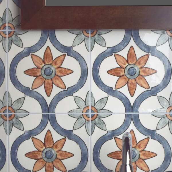 Avaricon 7.875 x 7.875 Ceramic Field Tile in Blue/Green/Orange by EliteTile