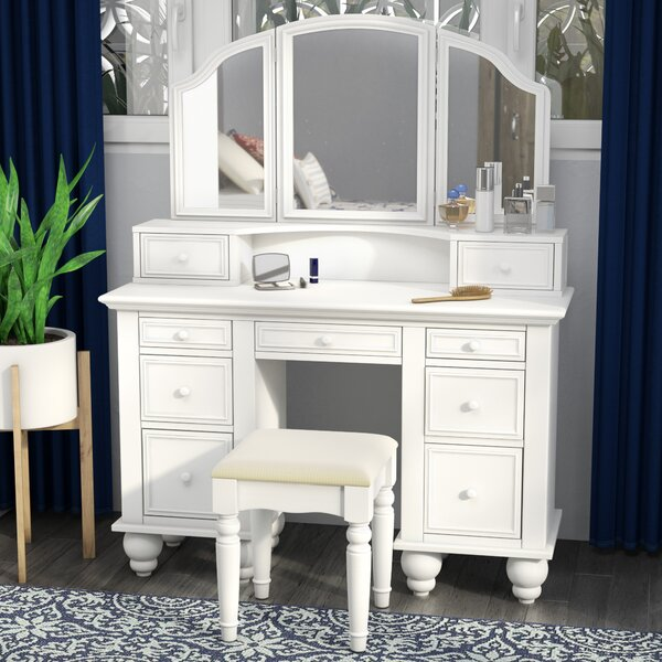 Anthonyson Transitional Vanity Set with Stool and Mirror by Darby Home Co Darby Home Co