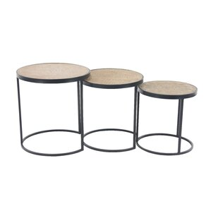 Okemah Modern Wood and Iron Round 3 Piece Nesting Tables by Bungalow Rose